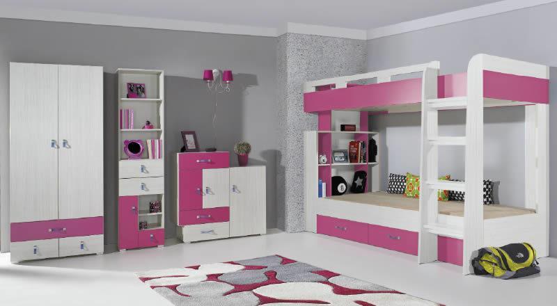 meble młodzieżowe różowo białe
